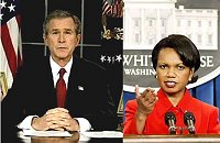 President G W Bush + Condoleezza Rice