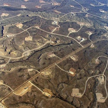 an aerial view of typical fracking operation