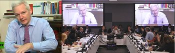 Julian Assange addresses the United Nations General Assembly via satellite video link