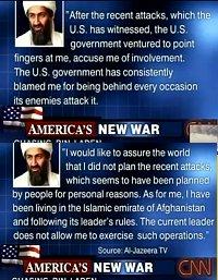 Osama denies responsibility