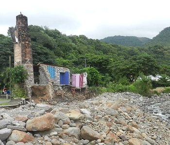 historic building at Massacre on Dominica's west coast destroyed by flood during Tropical Storm Ophelia, October 2011